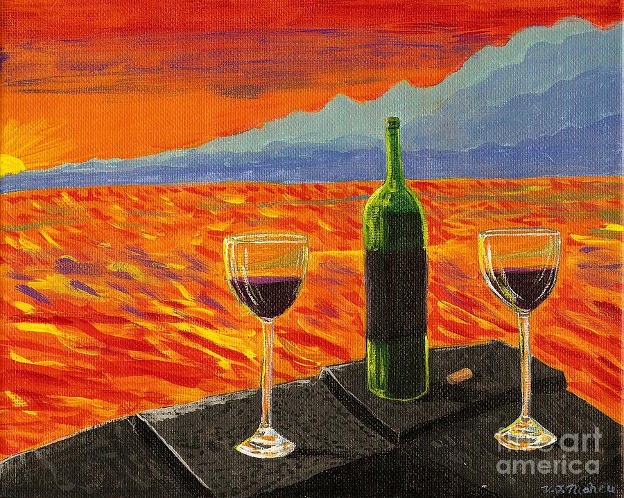 Sea Painting - Wine On Sunset Terrace by Vicki Maheu