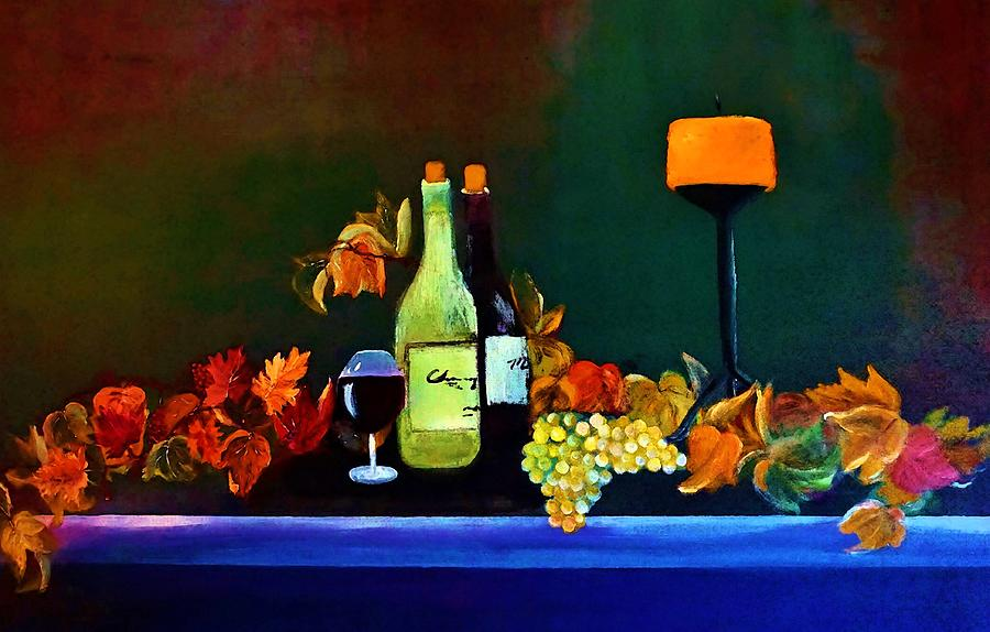 Wine Painting - Wine On The Mantel by Lisa Kaiser