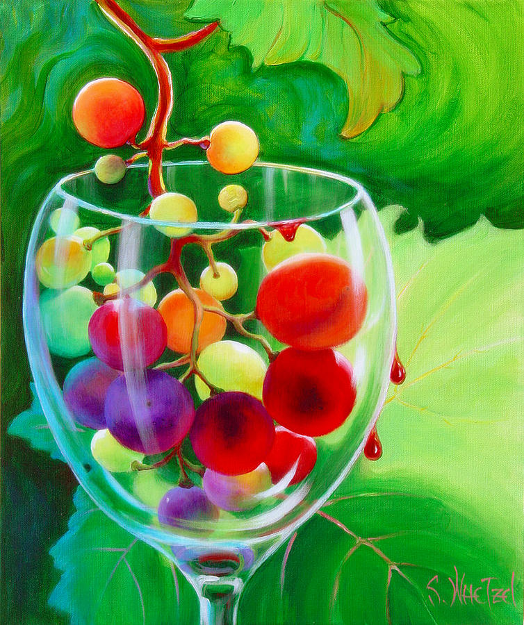 Wine Goblet Painting - Wine on the Vine III by Sandi Whetzel