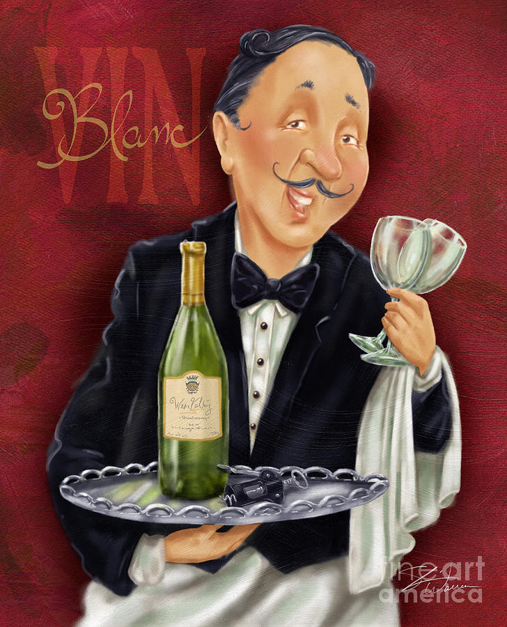 Waiter Drawing - Wine Sommelier by Shari Warren