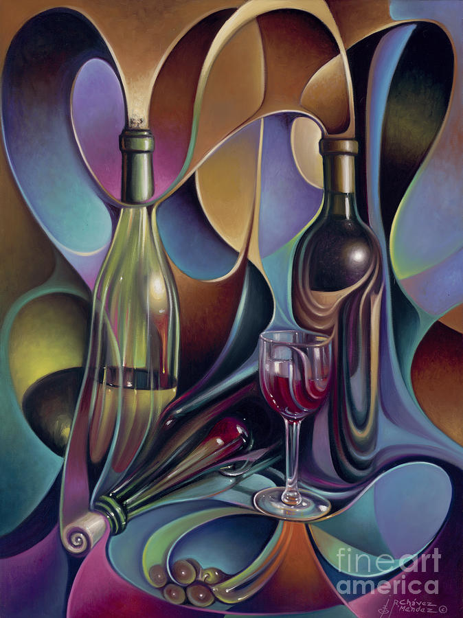 Wine Painting - Wine Spirits by Ricardo Chavez-Mendez