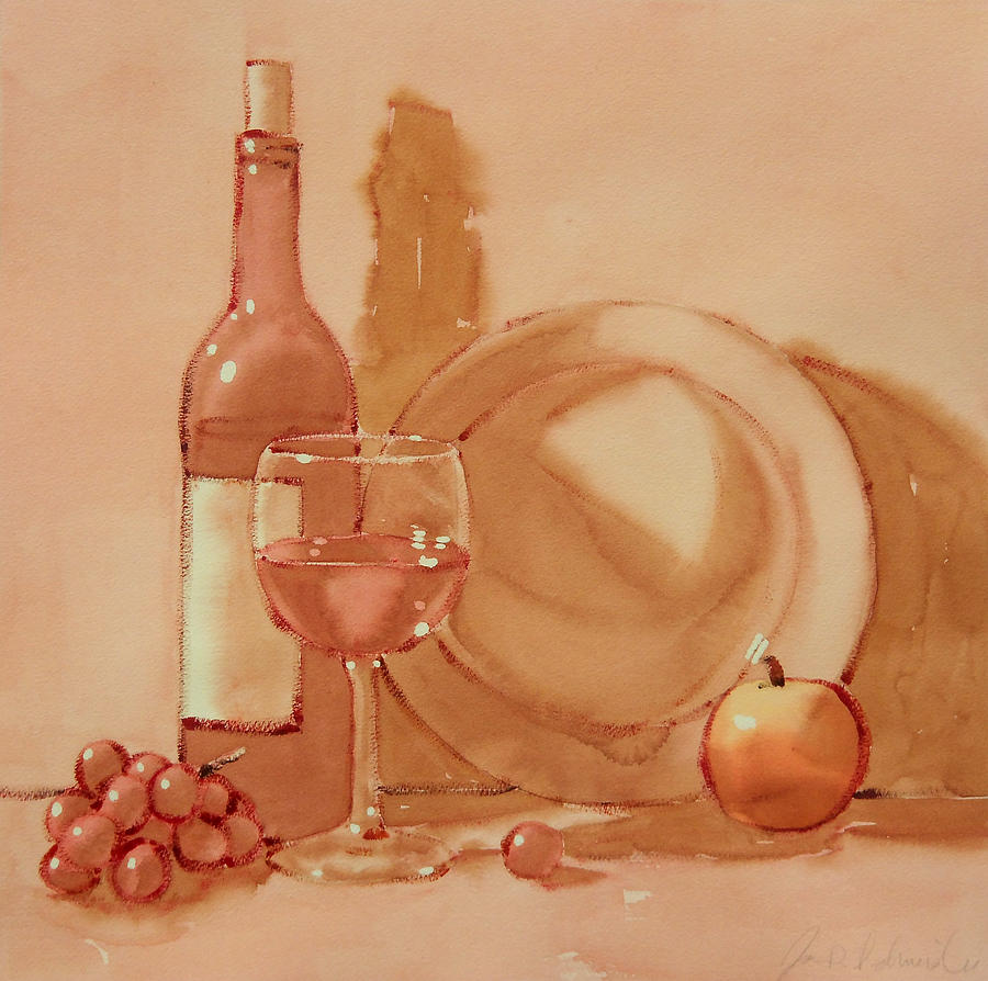 Wine Painting - Wine Still Life by Joe Schneider