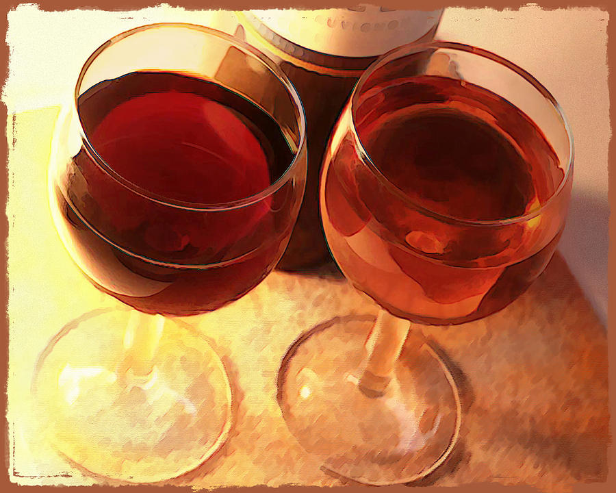 Wine Painting - Wine Toast In Watercolor by Elaine Plesser