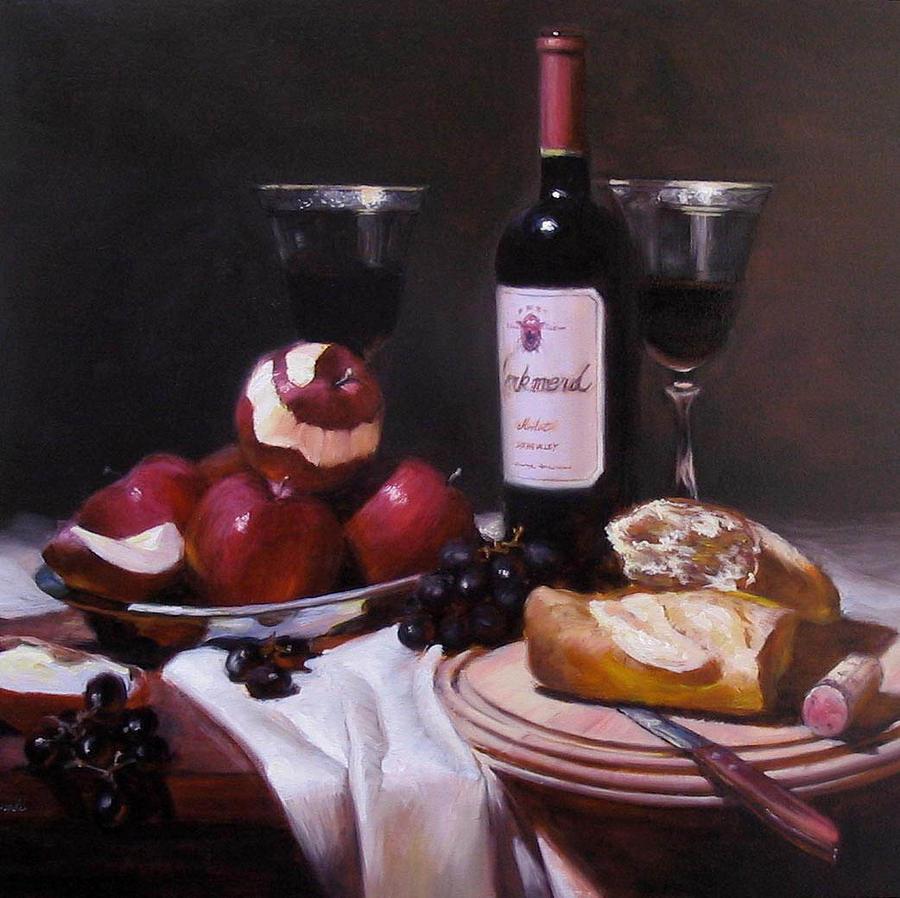 Wine Painting - Wine With Peeled Apples by Takayuki Harada