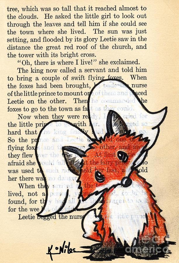 Fox Drawing - Winged Fox by Kim Niles
