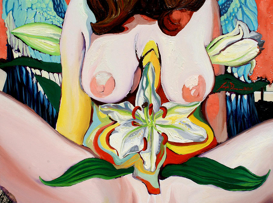 Nude Painting - Winged Girl with Lilys  by Joseph Demaree