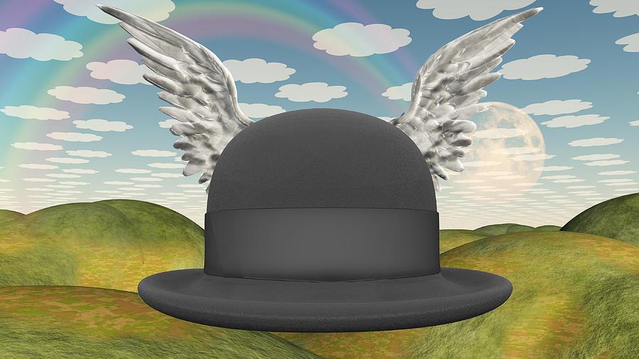 Winged Hat In Surreal Landscape Digital Art