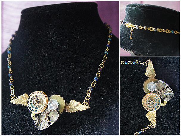 Steampunk Jewelry - Winged Heart by Jaime Andrews