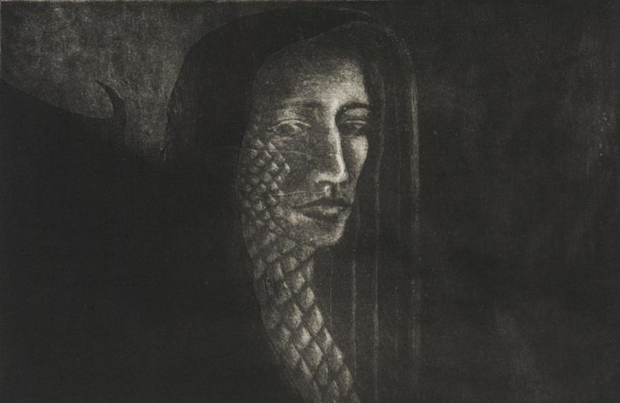 Intaglio Drawing - Winged Medusa by Pati Hays