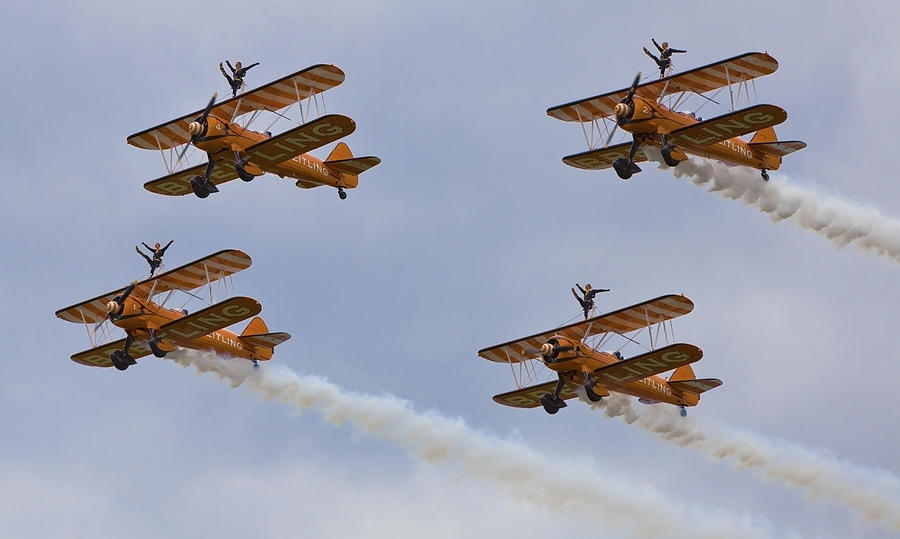 Wingwalking Photograph - Wingwalkers  Perfect Sync by Maj Seda