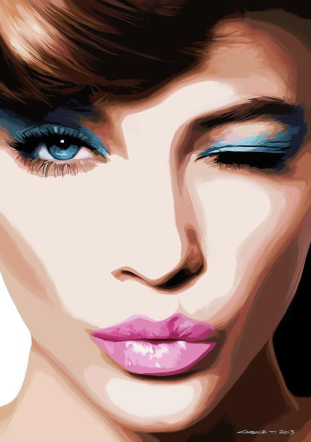 Amazing Girl Digital Art - Wink - Pretty Faces Series by Gabriel T Toro