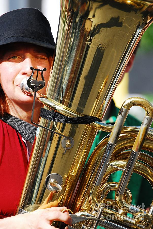 Tuba Player Photograph - Winking Musician by Susan Hernandez