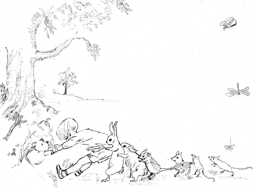 Winnie The Pooh Painting - Winnie the Pooh and Crew in Pen  and Ink after E H Shepard by Maria Hunt