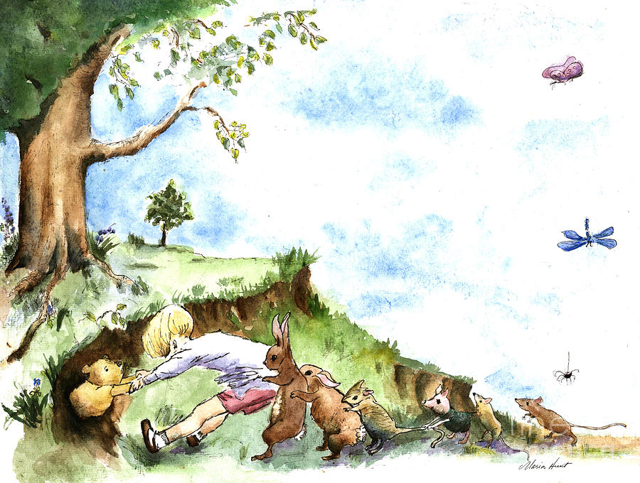 Winnie The Pooh Painting - Helping Hands after E H Shepard by Maria Hunt