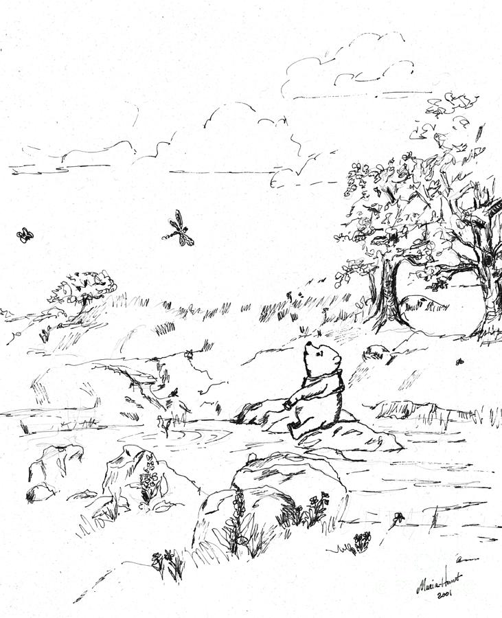 Whinnie The Pooh Painting - Winnie the Pooh by the Creek   After E H Shepard by Maria Hunt