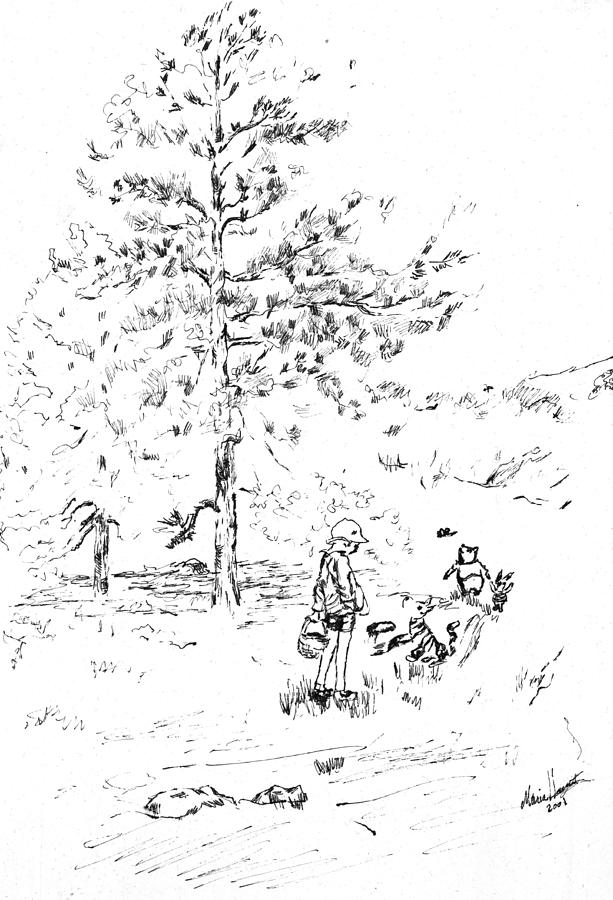 Whinnie The Pooh Painting - Winnie The Pooh goes on a Picnic   after E H Shepard by Maria Hunt
