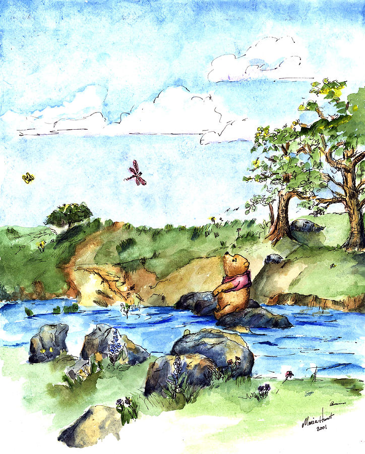 Watercolor Painting - Imagining the Hunny  after E  H Shepard by Maria Hunt