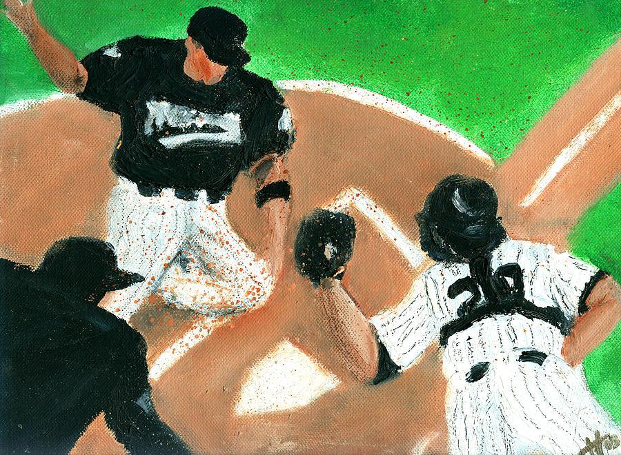 Baseball Painting - Winning Run by Jorge Delara
