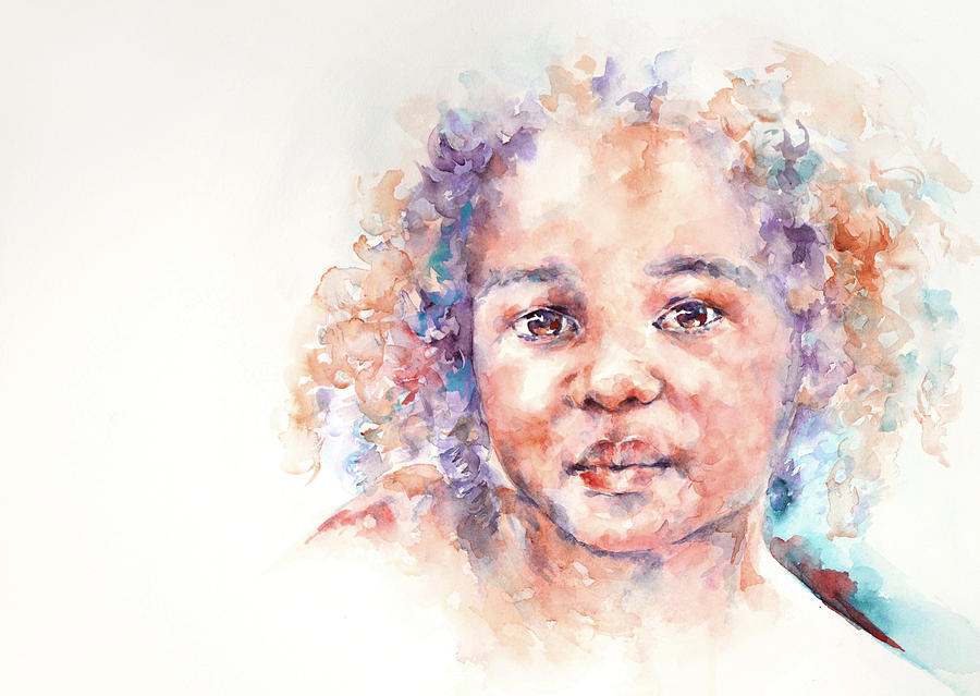 Africa Painting - Winsome . . A child from Africa by Stephie Butler