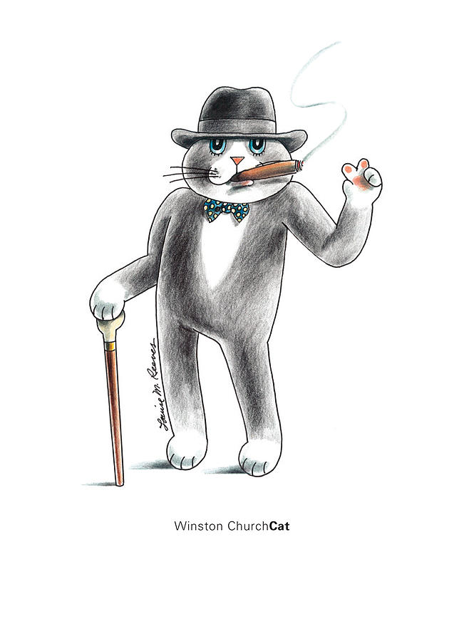 Cat Drawing - Winston Churchcat by Louise McClain Reeves