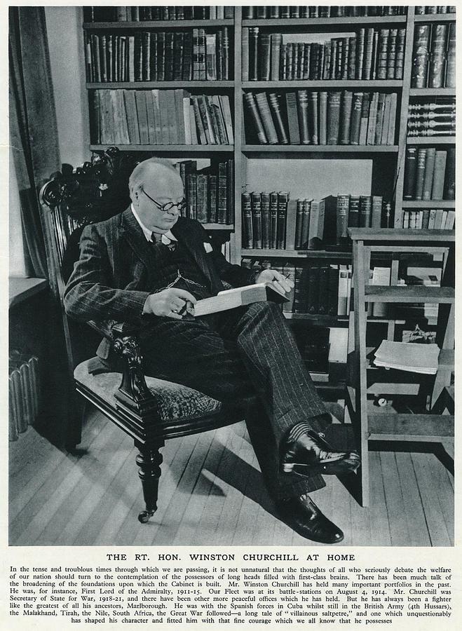 Churchill Photograph - Winston Churchill  At Home, Reading by  Illustrated London News Ltd/Mar