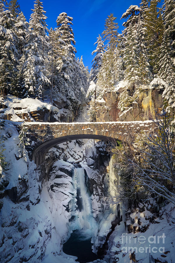 America Photograph - Winter At Christine Falls by Inge Johnsson