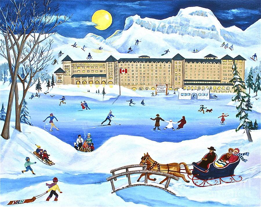 Lake Louise Chateau Painting - Winter At Lake Louise Chateau by Virginia Ann Hemingson