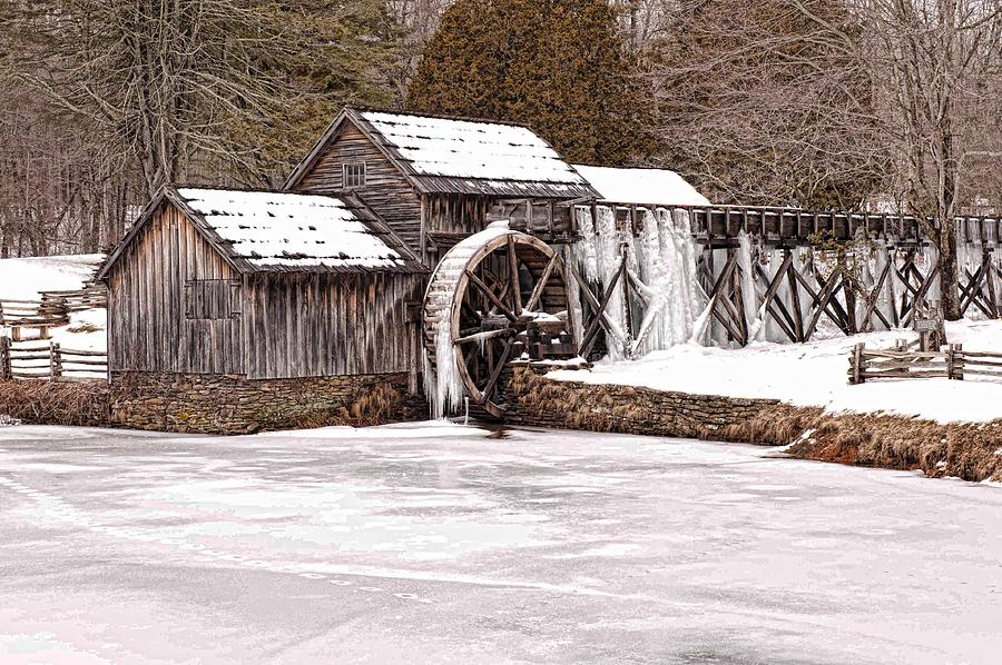 Winter at Mabry Mill Full Size by Keith Swango