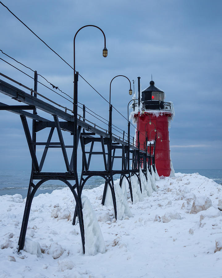 Lighthouse Photograph - Winter At South Haven Lighthouse by Kimberly Kotzian