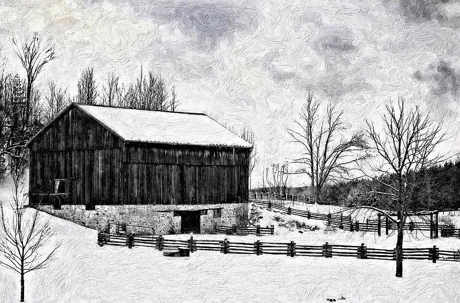Barn Photograph - Winter Barn Impasto Version by Steve Harrington
