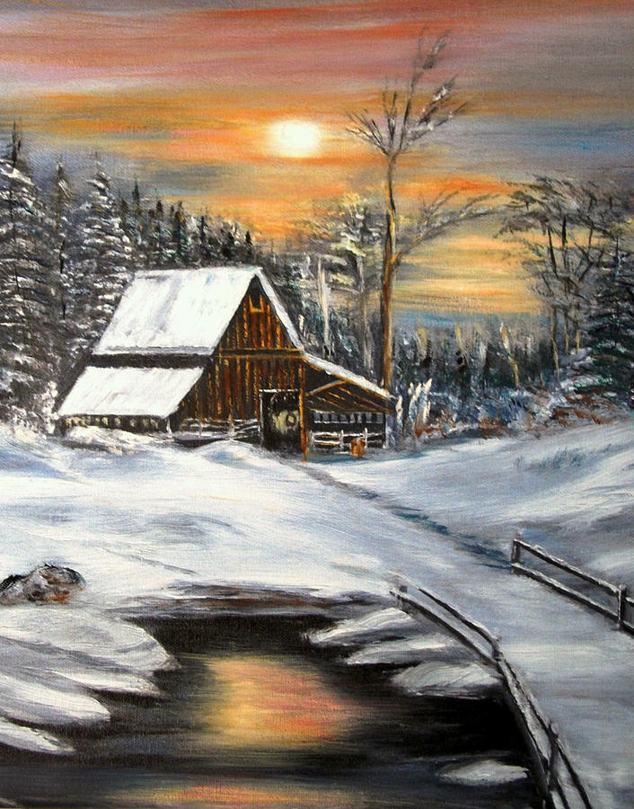 Landscape Painting - Winter Barn by Kenneth LePoidevin