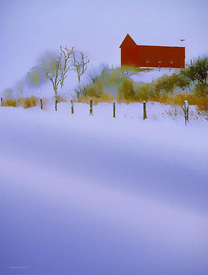 Ron Jones Photograph - Winter Barn by Ron Jones