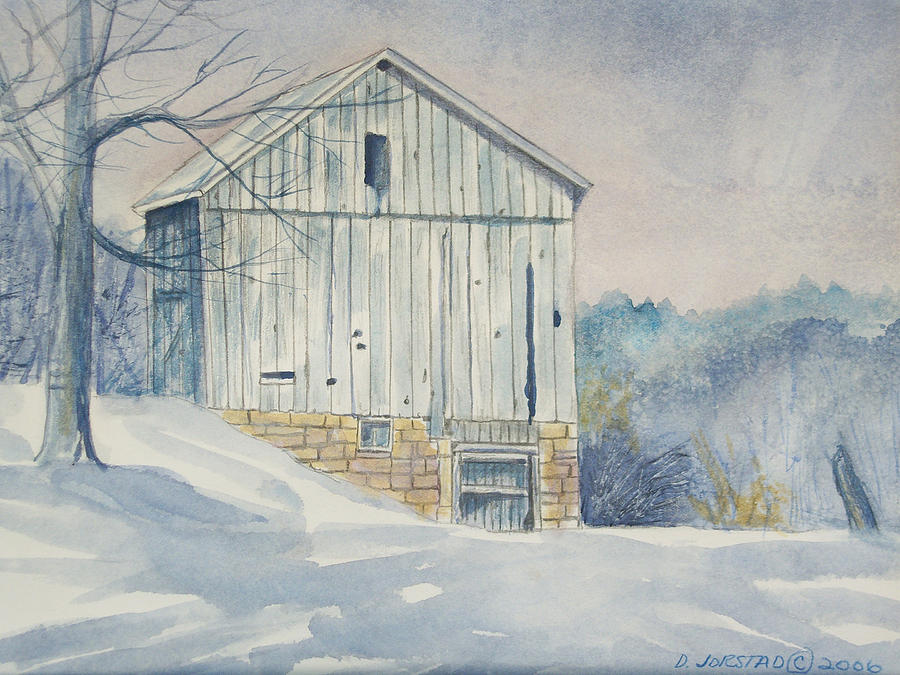 Watercolor Print Winter Barn Painting For Sale Painting By