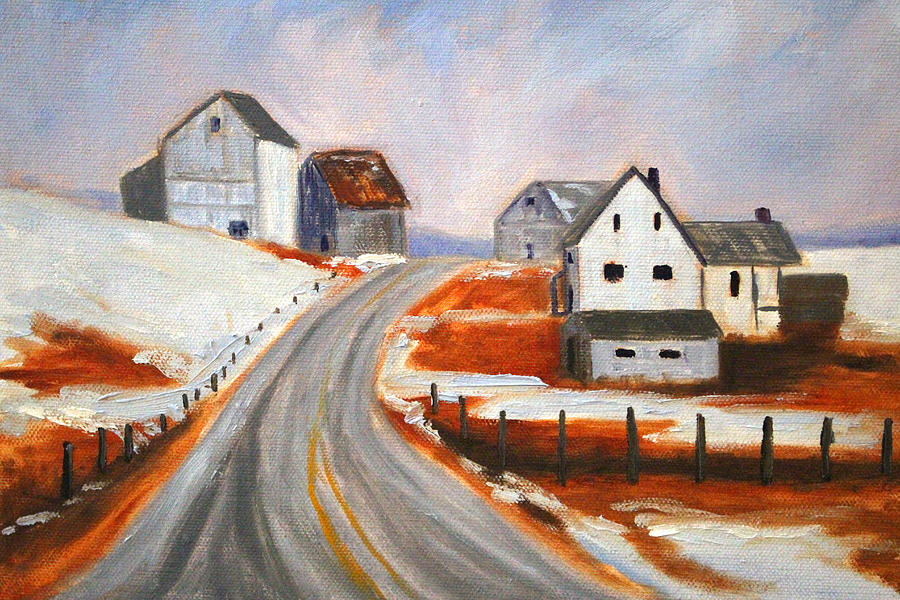 Winter Painting - Winter Barns by Nancy Merkle