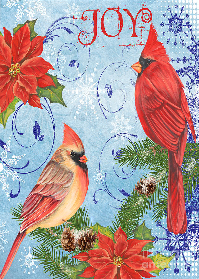 Watercolor Painting Mixed Media - Winter Blue Cardinals-joy Card by Jean Plout