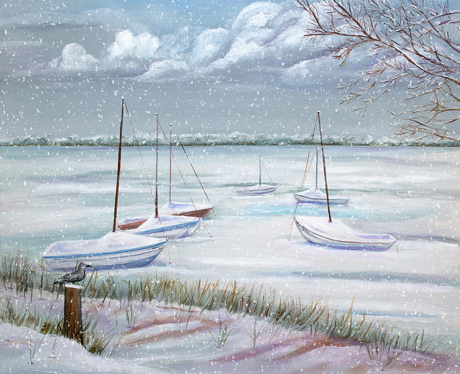 Seascape Painting - Winter Blue by Dorothy Riley