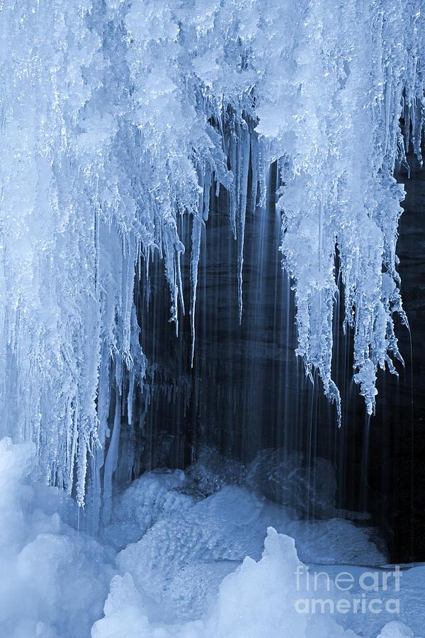 Winter Blues - Frozen Waterfall Detail Photograph