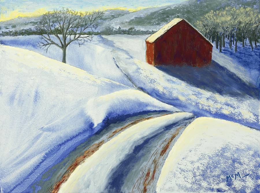 Red Barn Painting - Winter Blues by Garry McMichael