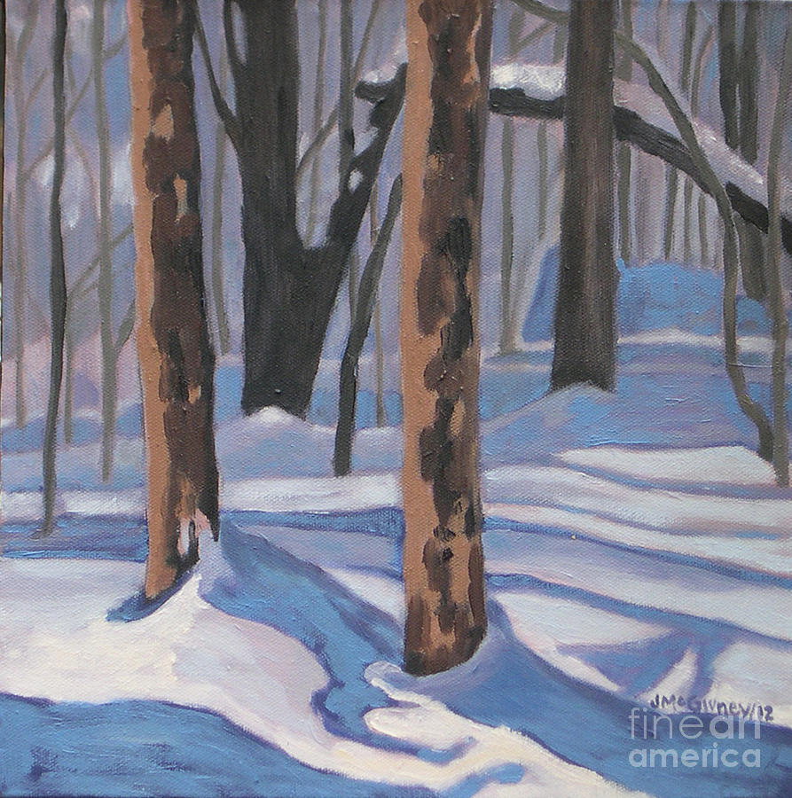 Winter Landscapes Painting - Winter Blues by Joan McGivney