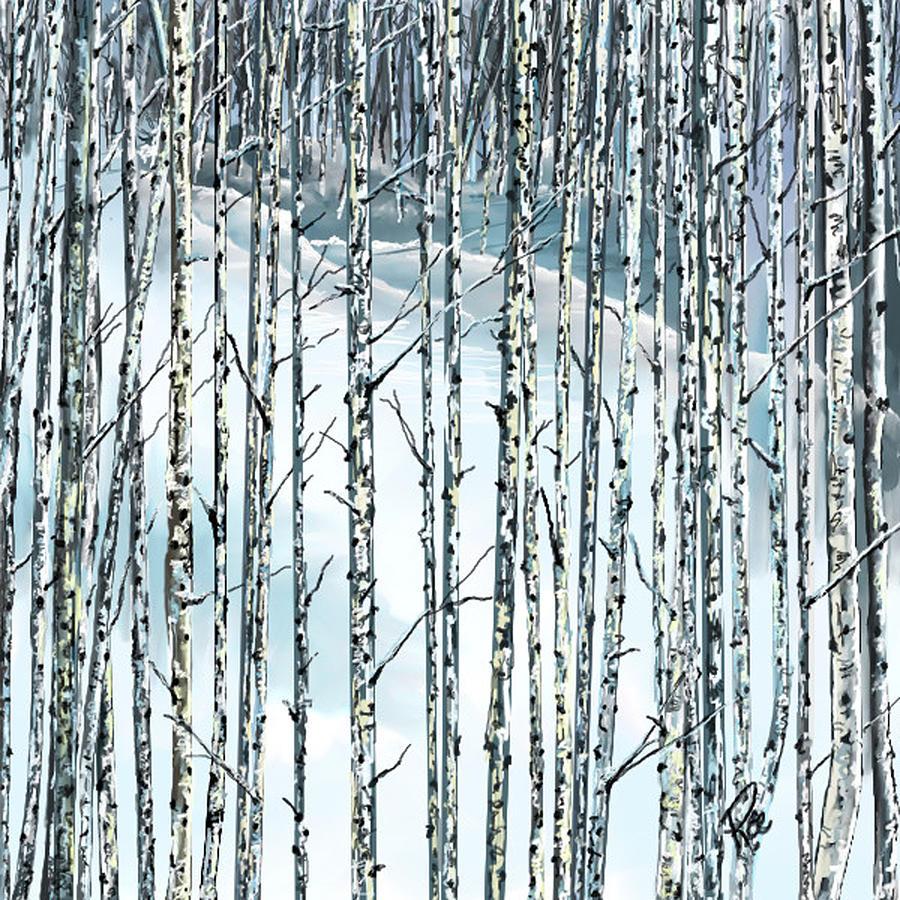 Birch Trees Digital Art - Winter Blues by Maria Schaefers