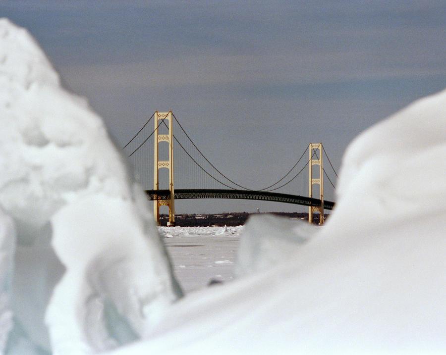 Mackinac Bridge Photograph - Winter Bridge by Brady D Hebert