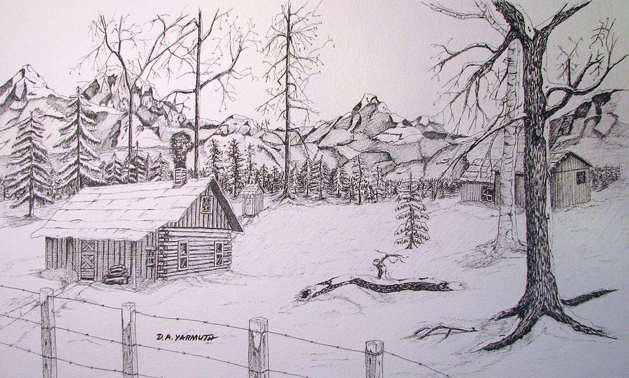 Winter cabin drawing by dale yarmuth Cabin drawings