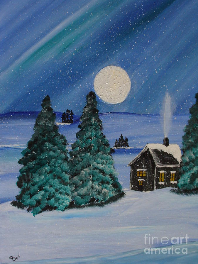Winter Cabin In The Woods Painting By Beverly Livingstone