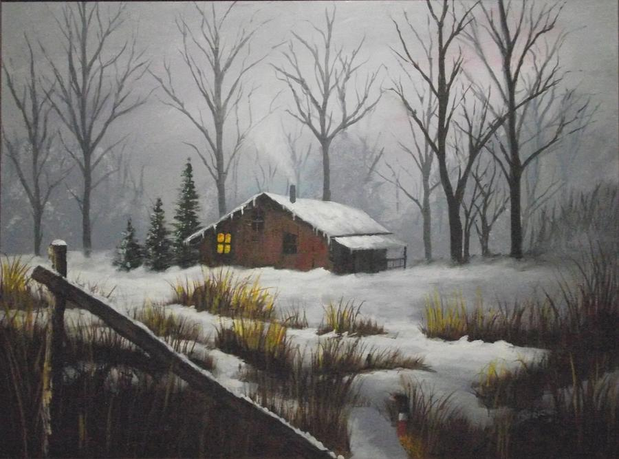 Winter Cabin Painting By Michael Strickland