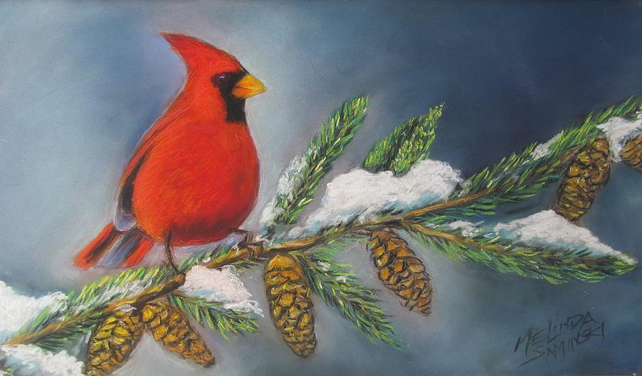 Cardinal Painting - Winter Cardinal 2 by Melinda Saminski