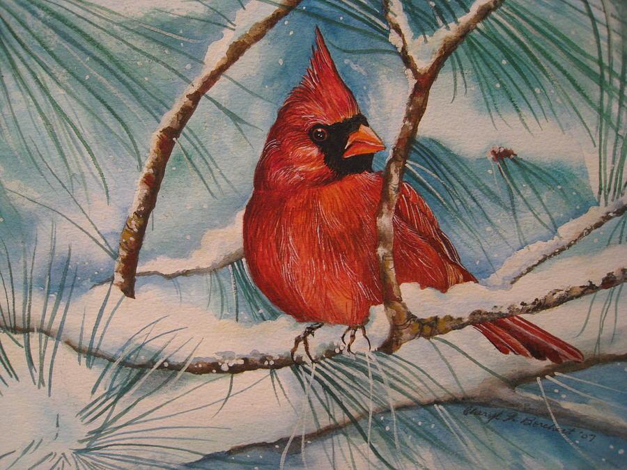 Snow Painting - Winter Cardinal by Cheryl Borchert