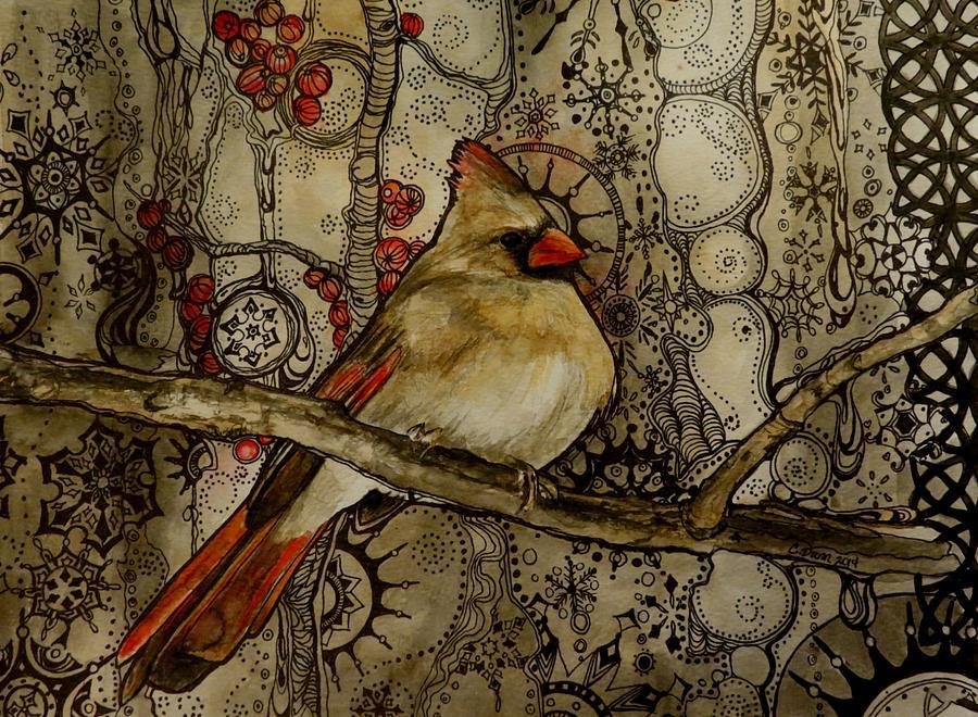 Cardinal Painting - Winter Cardinal by Cristy Dunn