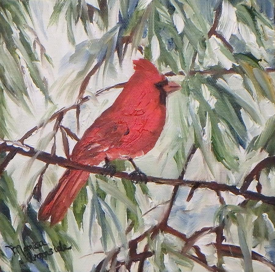 Nature Painting - Winter Cardinal by Monica Ironside
