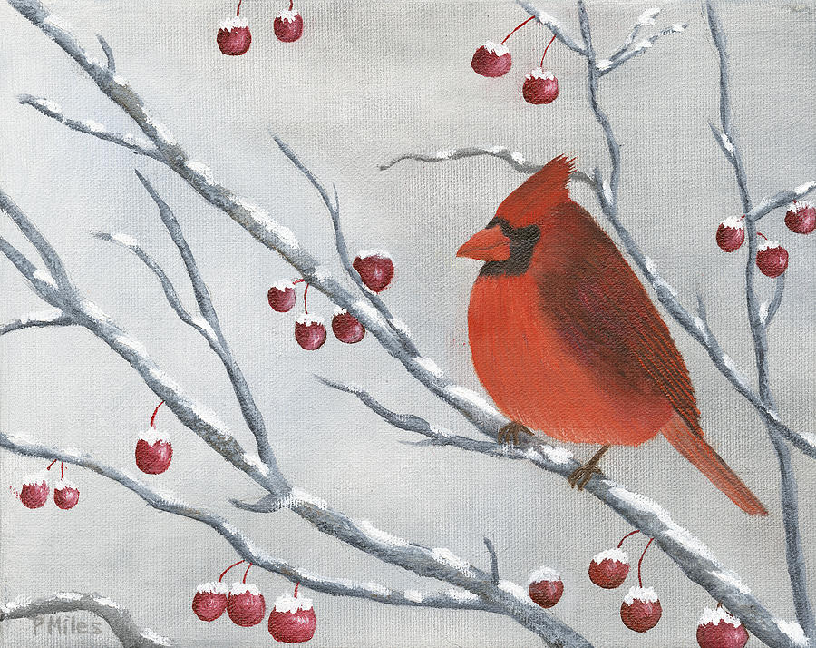Winter Painting - Winter Cardinal by Peter Miles