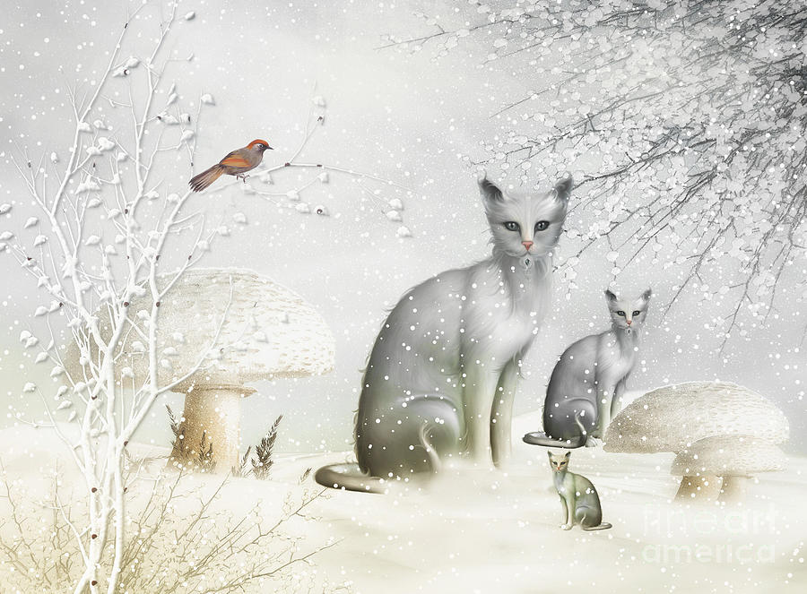 Cat  Digital Art - Winter Cats by Elaine Manley